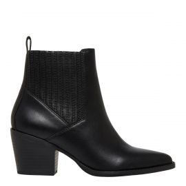Black non leather ankle cowboy boot with concealed gusset - side view Lipstik Shoes