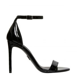 Side view of Women's black patent croc print stiletto heel with ankle strap