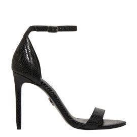 Women's black snake print stiletto ankle strap heel.
