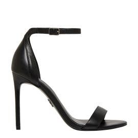 Women's black stiletto ankle strap heel.