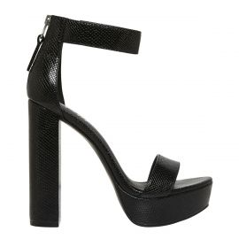 Women's black snake platform block heel with back zipper