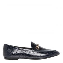 Navy slip on flat with gold buckle - side view -  Windsor Smith Shoes