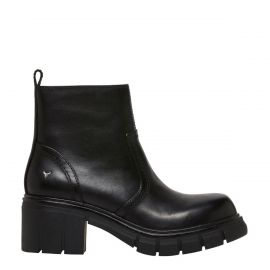 Womens black ankle biker boot - side view - Windsor Smith