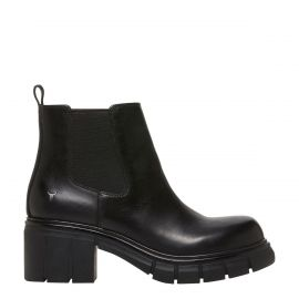 Women's black leather gusset pull up ankle boot - side view - Windsor Smith