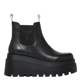 black gusset flatform boot
