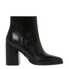 side - womens black block heel boot 8cm