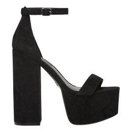 Black ankle strap platform block heel