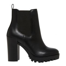 Women's black gusset boot with block heel on a side angle