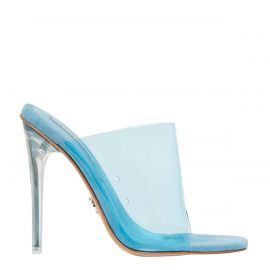 Women's blue perspex stiletto mules. Fetish by Windsor Smith - side view