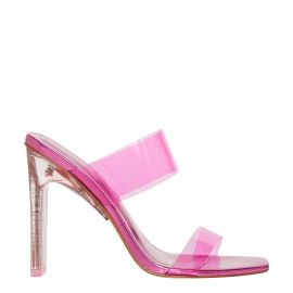 Women's pink perspex upper wide strip mule heels with metallic non-leather lining. Feud neon pink by Lipstik Shoes. Side view.