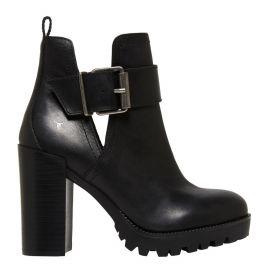 Women's high heel platform boot with open buckle side - side angle - Windsor Smith