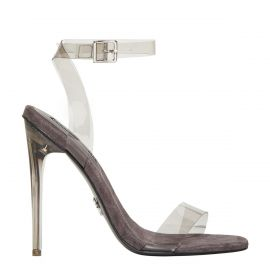 Women's grey perspex stiletto high heel with wide ankle strap and buckle. Fling by Windsor Smith - side view