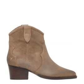 Women's taupe suede cowboy boots - side view - Windsor Smith Shoes