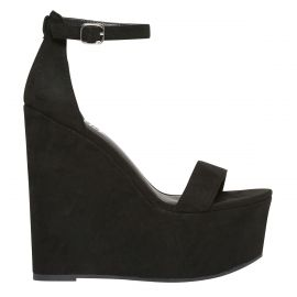 Women's black platform wedge