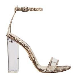 Women's snake print high heels with clear perspex heel