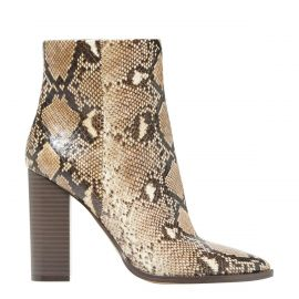 Hayes snake heeled boots available online today from Lipstik shoes - side view