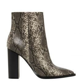 Women's snake print high heel ankle boots - side view - Lipstik Shoes