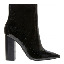 Women's black patent ankle boot with croc print finish on a side view.