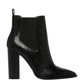 Black snake print gusset ankle boot from Lipstik Shoes - side view