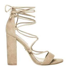 natural lace-up suede heel