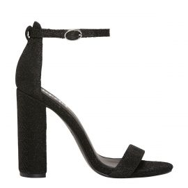 Black lurex ankle strap block heel