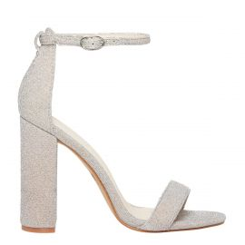silver lurex ankle strap high heel shoe