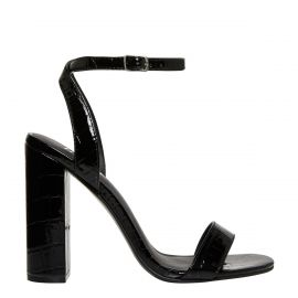 Women's black sandals with patent croc textures - side view