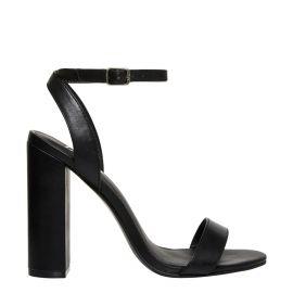 Women's black ankle buckle block heel sandals - side view Lipstik Shoes
