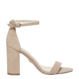 Women's nude mushroom suede high heel block heel shoe