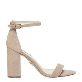 Women's nude mushroom suede high heel block heel shoe