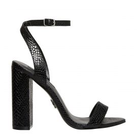 Womens black snake print sandal with ankle strap on side view
