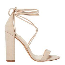 Women's lace up tie up block heel