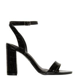 Women's croc print non leather block heel sandal shoes - side view - Lipstik Shoes