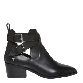 Black ankle boot with buckles now on clearance