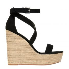womens black espadrille wedges on clearance