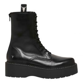 Womens flatform leather biker boot in black.