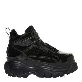 Black patent high top platform bubble sneakers