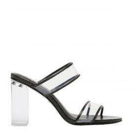 Kristen - nonleather high heel mules with clear heel and two wide perspex strips on side in croc print side view by Lipstik Shoes