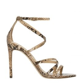 Women's snake print stiletto sandal shoes - side view - Lipstik Shoes