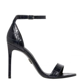 Navy stiletto heel with ankle strap - side view
