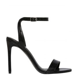 Black snake stiletto high heel - side view -  Windsor Smith Shoes