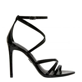 Strappy sandal with croc print texture and an ankle buckle on stiletto heel - side view Windsor Smith