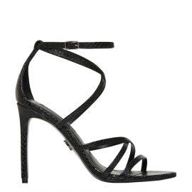 Women's strappy sandal with snake print texture on stiletto heel - side view Windsor Smith Shoes