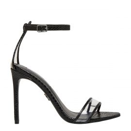 Windsor Smith snake print stiletto with perspex features and ankle buckle strap