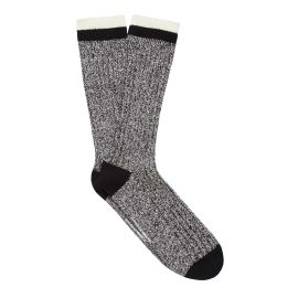 RIB KNIT MEN'S BOOT SOCK BLACK/OFF WHITE