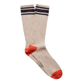 RIB KNIT MEN'S BOOT SOCK BLEACHED SAND/STUCCO