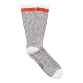 RIB KNIT MEN'S BOOT SOCK CHARCOAL GREY/OFF WHITE