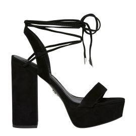 black suede platform block heel shoe