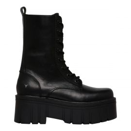 Women's black lace up military platform boot - side view - Windsor Smith shoes