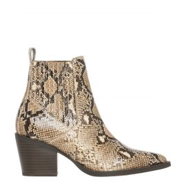 Women's snake print cowboy boots - side view - Lipstik Shoes